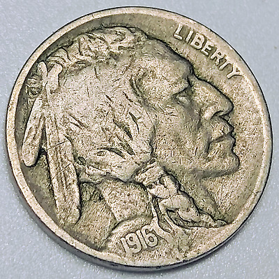 1916 Buffalo Nickel Vg No F Fs-401 Missing Designer Initial Variety 5C Coin Cpg