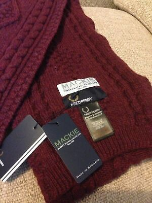 Fred Perry UK, Mackie, 100% Thick Lambswool, Knit Claret Scarf. BNWT