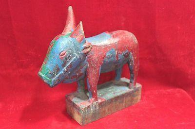 Nandi Figure Vintage Indian Handcrafted Wooden Home Decor Antique PU-84