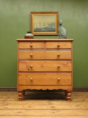 Large Victorian Country Pine Chest of Drawers