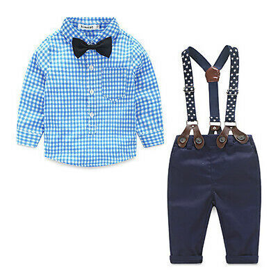 Toddler Kids Baby Boy Clothes Boys Outfits Sets Short T-Shirt + Pants Plaid Tops