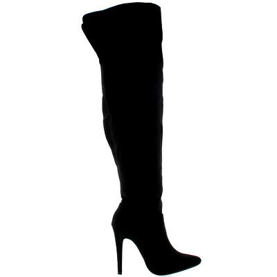 Ladies Zip Stretch Stilettos Over The Knee Thigh High Heeled Boots All Sizes