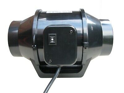 Mixed Flow Duct In-Line Extractor Fan 2 SPEED 125mm  Bathroom Hydroponics  Plug