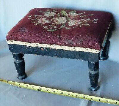 Antique Victorian needlepoint footstool tapestry embroidered ebonized wooden