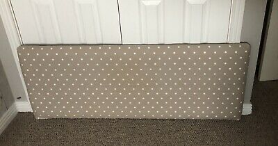 Double Bed HEADBOARD Covered In Shabby Chic Polka Dot Fabric -fixes flat to wall
