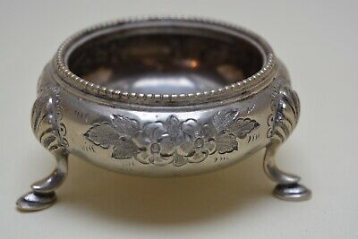 Antique Silver Plate Plated Salts on 3  Feet WW & JW  in circles