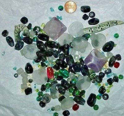 Lot of Assorted Mixed Beads Jewelry Making Stone Glass Ceramic Large Small