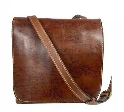 Patricia Nash GRANADA Vintage Leather Laser Map Rust Crossbody Bag New