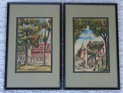 Pair of MCM Vintage French Watercolours Signed Jacques 1971
