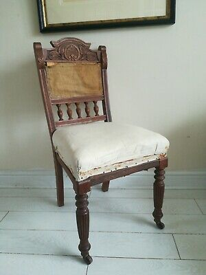 Victorian Chair carved back front legged castors Project
