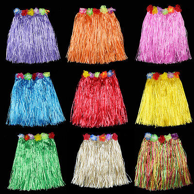 Ladies Women Hawaii Fancy Dress Grass Skirt Hula Hawaiian Full Charming /_OQ