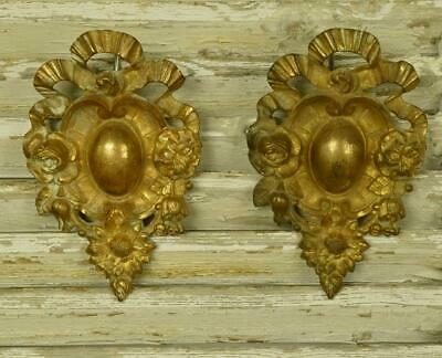 Divine PAIR Antique French Ormolu Hook Covers / Embellishments, Bow & Flowers