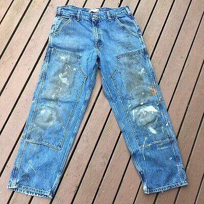 Carhartt DISTRESSED Double Knee Dungarees STAINED Blue Jeans WORN Painter Pant