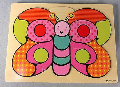 Wooden butterfly puzzle toddlers 15 pieces pink orange green innovative kids
