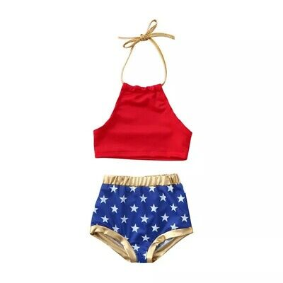cf87153d21a NWT BABY GAP Warner Bros WONDER WOMAN 1 pc Patriotic WW Tutu SWIM ...
