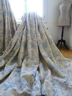 "LAURA ASHLEY CURTAINS shabby CHATEAU chic ""TULLERIES"" TOILE interlined *HUGE*"