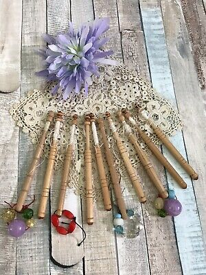 Lace Bobbins/Wooden Lace Making Bobbins . Pretty Spangles..