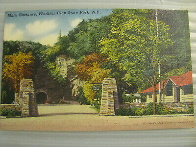 Postcard Watkins Glen State park New York Main Entrance vtg