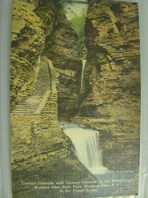 Postcard Watkins Glen State Park New York Curtain Cascade & Cavern Finger Lakes