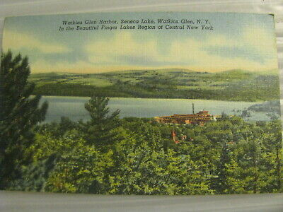 Postcard Watkins Glen Harbor Seneca Lake New York Finger Lakes Region vtg