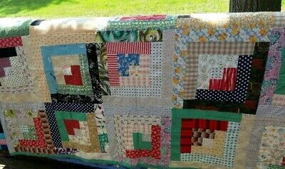 Vtg Handmade Quilt Patchwork Log Cabin Flower Backing USA 82 by 68 from the 40's
