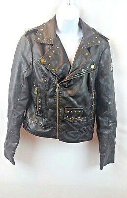 ae26fba802f30 Baby Phat Women's Leather Jacket Black W/Gold Zippers Rhinestones Size Large