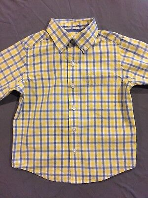 The Childrens Place Toddler Boy Long Sleeve Button Down Plaid Shirt Size 3T EUC!