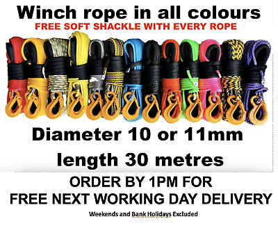 Synthetic winch rope Dyneema SK75 spec choice of colour and size 10 or 11mm
