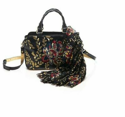 Patricia Nash Angelin Embroidered Leather Satchel W/ Matching Scarf Black New