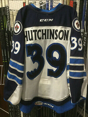 361991aacf8 Manitoba Moose Ahl Game Used Worn White Jersey Michael Hutchinson 39