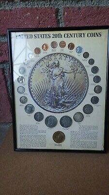 United States 20Th Century Coins Collection Framed 1972 Kennedy Mint 1881 Morgan