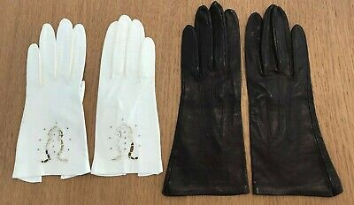 2 Vintage 1960'S Calf Skin Leather Women's Gloves, Ivory & Brown, Size Small