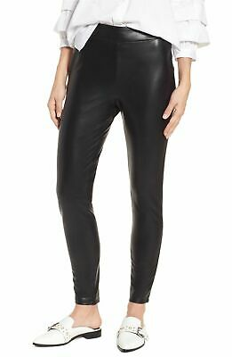 1a5f17d6c035c NWT Leith Nordstrom Women's Black Faux Leather Skinny Side Zip Pants Size XS