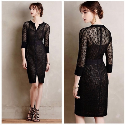 6f6a0453c040 Anthropologie Beguiled Byron Lars Mona Lace/Crochet Overlay Sheath Dress  Size 6