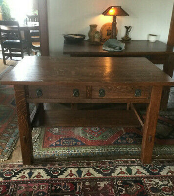Rare Antique Mission Oak Arts and Crafts Lifetime Furniture Co Library Table