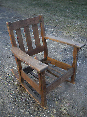 Charles Limbert Mission Oak Arts and Crafts Rocking Arm Chair Needs Work