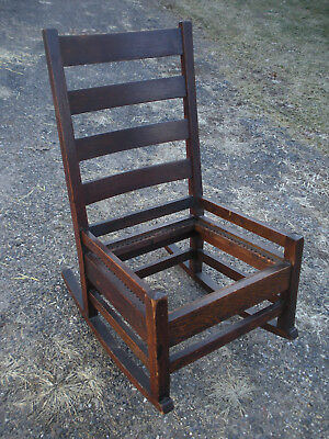 Gustav Stickley Mission Arts and Crafts Ladder Back Rocking Chair Model #303