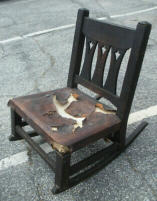 Antique Mission Oak Art and Crafts Cutout Rocking Chair Limbert? Stickley Bros?