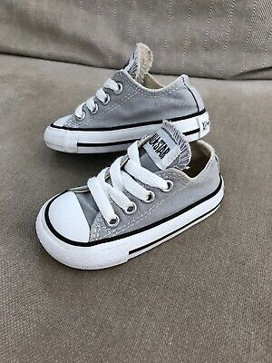 Converse All Star Kids Low Top Shoes 4 US 11.5 cm Sneakers Trainers Grey [R3]