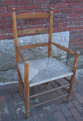 Antique Shaker Ladder Back Rush Seat Arm Chair