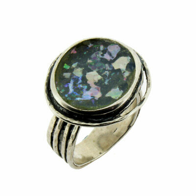 Round Shaped Ancient Roman Glass Oxidized Sterling Silver Cocktail Ring Size 9