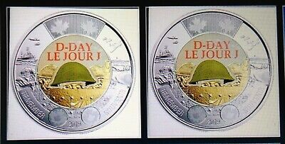 2019 CANADA 75th D-DAY COLOUR $2 DOLLAR TOONIES COINS ------- NEW