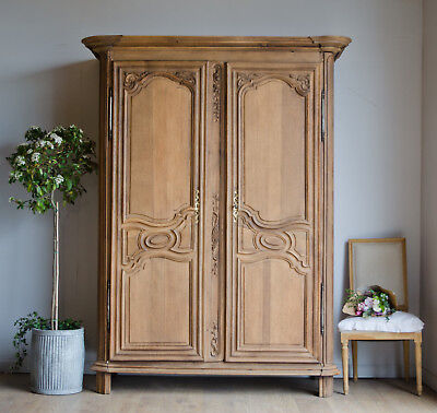 French Antique Late 18C Carved Oak Knockdown Armoire Wardrobe Hanging Rail Shelf