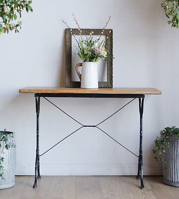 French Vintage Console Table with Cast Iron Base and Light Oak Top