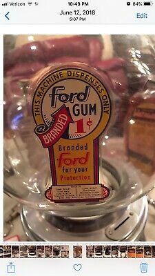 Nice Original Ford 1 Cent Gumball. Machine With Glass Globe And Marquis