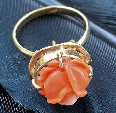 Beautiful Vintage Estate Sterling Silver Vermeil Carved Coral Rose Ring Size 6.5