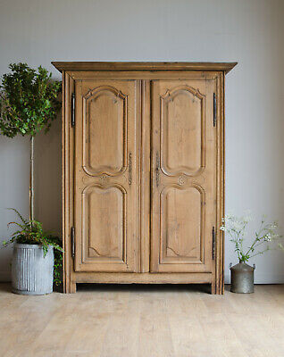 French Antique 18th Century Oak Armoire Wardrobe Linen Press Larder with Shelves