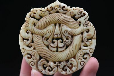 Chinese Ancient Hand carved old jade Amulet Pendant N118