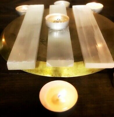 "Selenite Charging Plate, Polished Selenite Charging Station Large 8"" Long"