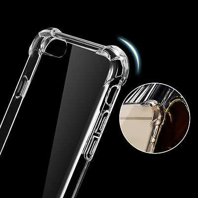 Clear Slim Hybrid Shockproof Soft TPU Bumper Cover Case For iPhone SE 5s 6s 7P
